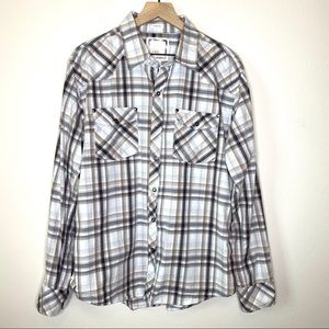 BKE Plaid Snap Closure Western Shirt Size XL